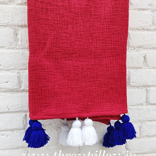 Red Textured Tassel Couch Cover/throw