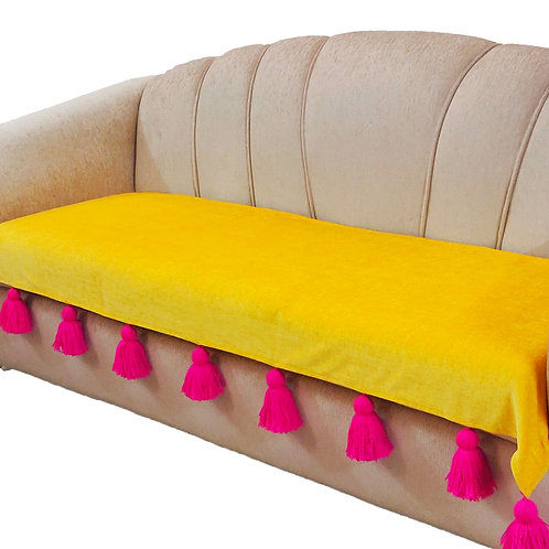 Sunshine Throw with Fuchsia Pink Tassels