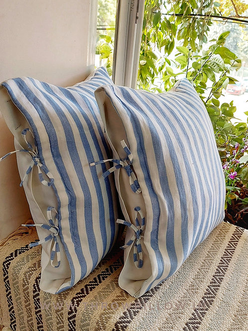 French Countrystyle Linen knot lumbar Cushion Cover