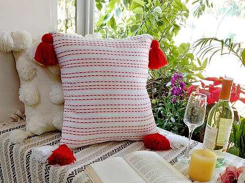 Red-Dotted Stripes Cushion Cover