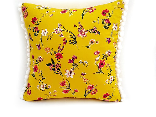 Yellow Printed Floral Cushion Cover