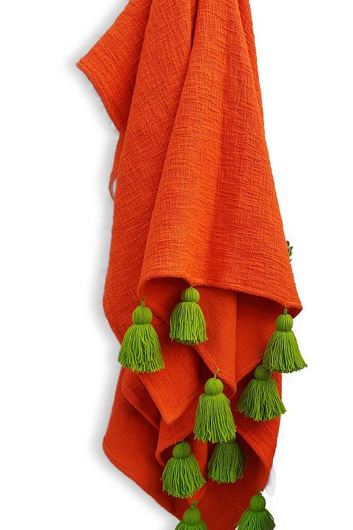 Orange Textured Tassel Couch Cover with Sap Green Tassels
