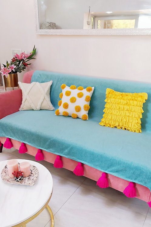 Turquoise Blue Throw With Pink Tassels