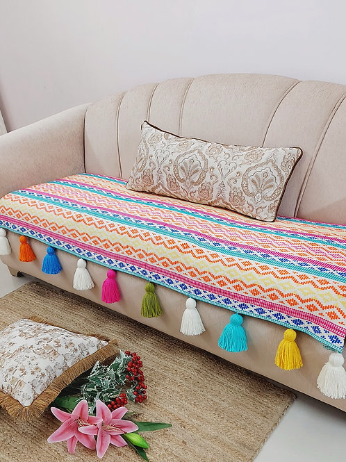 Rainbow Woven Textured ThrowCouch Cover
