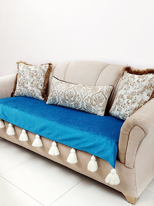 Teal Tassel Throw / Couch Cover