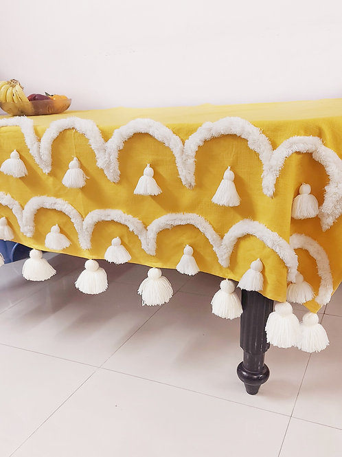 Tuscany Tufted Yellow Table Cover