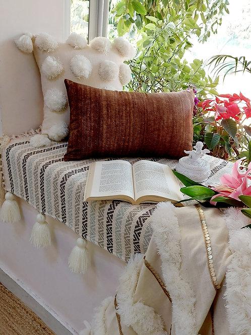 Brown Pattern Cotton Rectangular Cushion