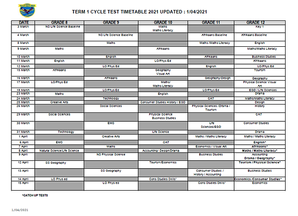 Cycle test timetable Term 1 2021 1 April