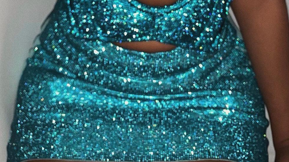 Ocean Dazzle Me rhinestone skirt (Aqua blue color only)