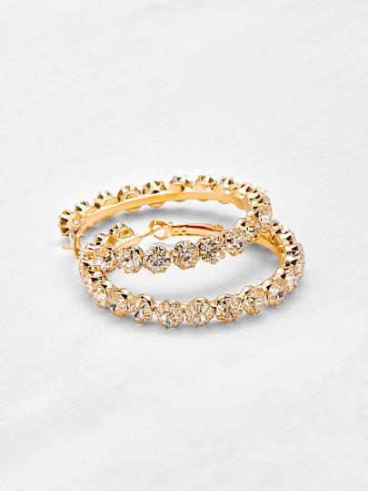 Selena Rhinestone Hoop Earrings Gold