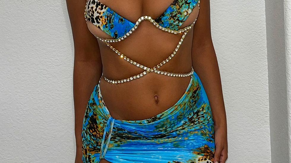 Exotic wire rhinestone chain bra/skirt set