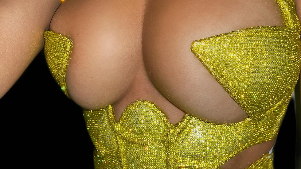 Kim k inspired claw rhinestone corset