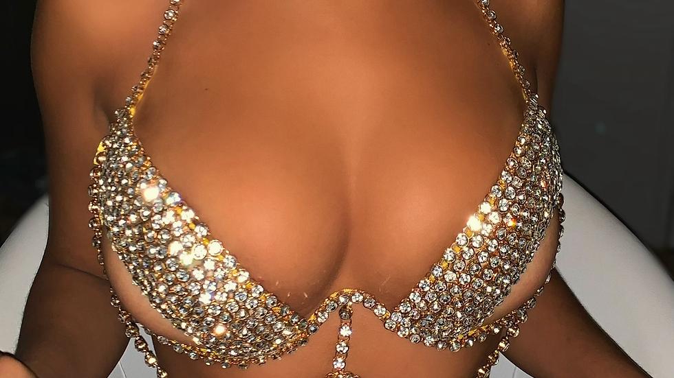 Cover me in jewels rhinestone chain bra