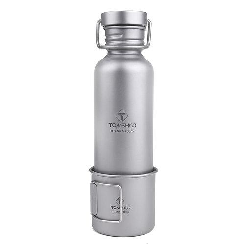 TOMSHOO 750ml Full Titanium Water Bottle W Extra Plastic Lid