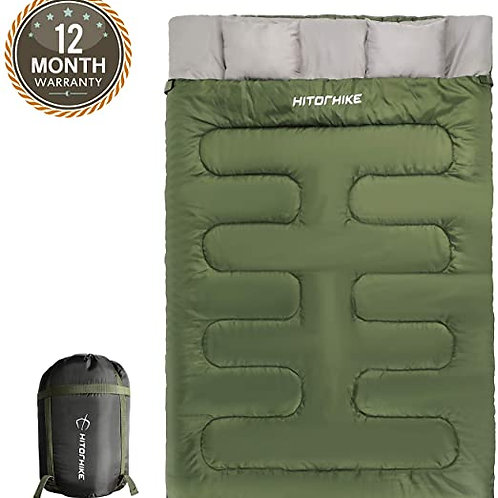 Double Sleeping Bag With Pillows for Camping, Hiking, Traveling, Backpacking