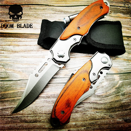200mm 5CR15MOV Blade Quick Open Pocket Knife for Survival, Camping, & Hunting