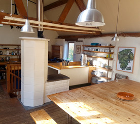 The open kitchen space