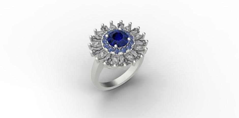 Blue Sapphire with Fancy Shaped Diamond Halo