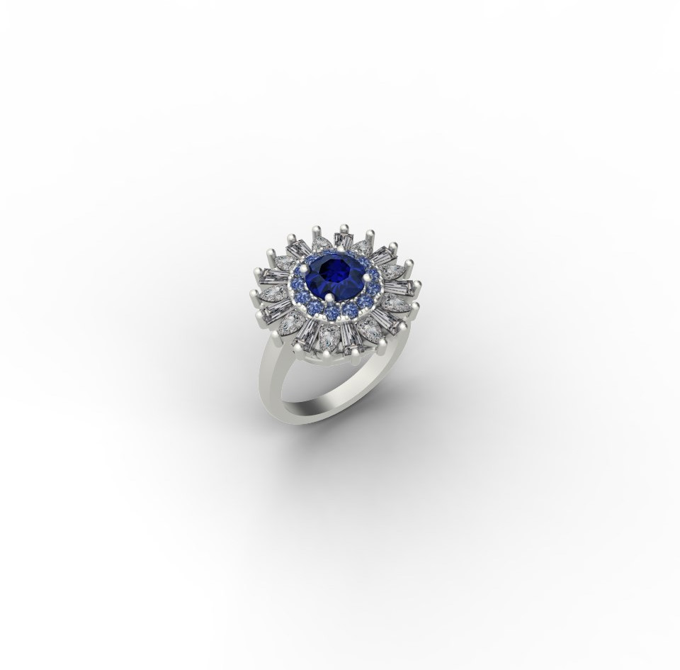 Blue Sapphire with Fancy Shaped Diamond Halo