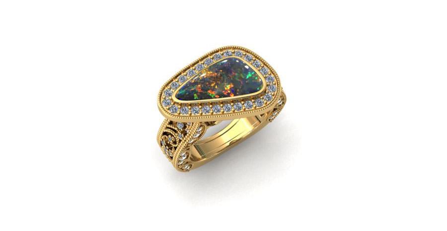 Celestial Opal Engagement Ring