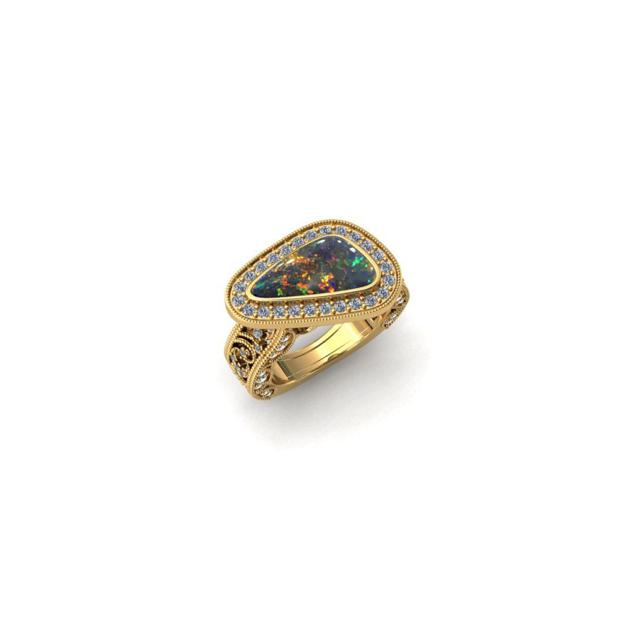 Celestial Opal Engagement Ring