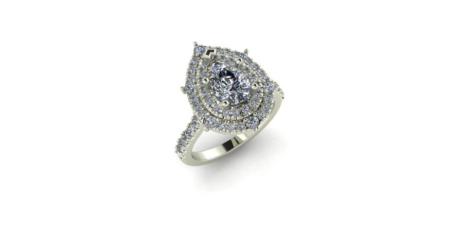Pear Shaped Double Diamond Halo Engagment Ring