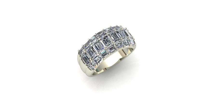 Emerald Cut Diamond Wide Band