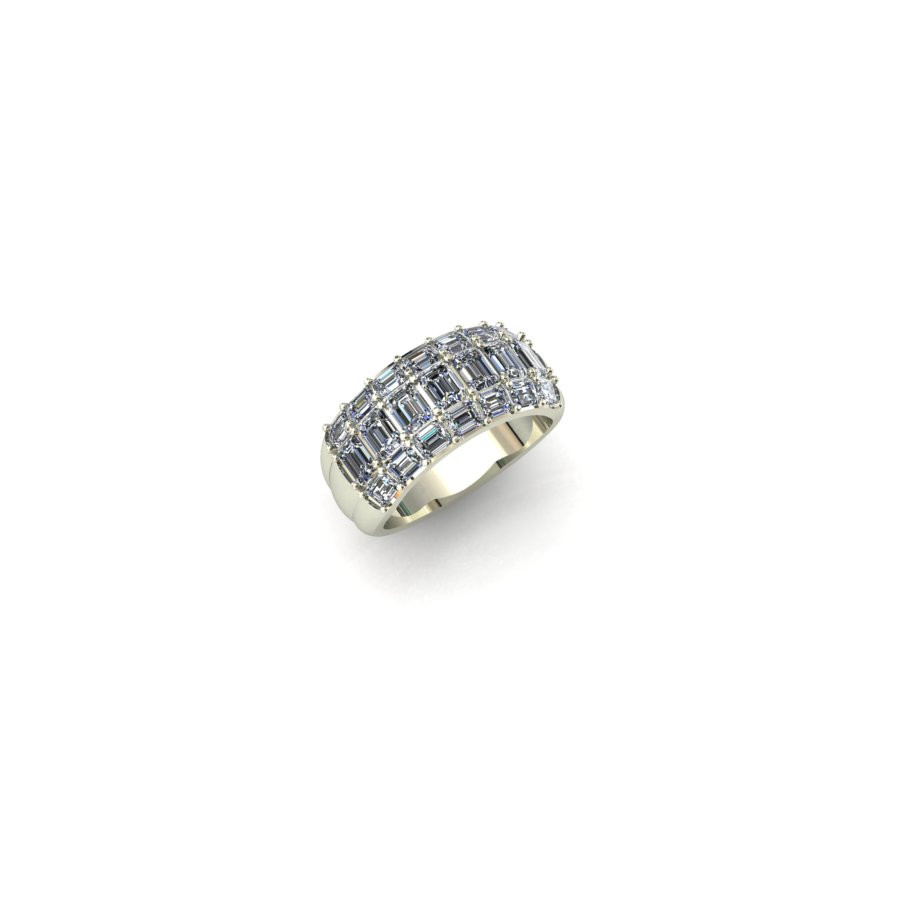 Emerald Cut Diamond Wide Band