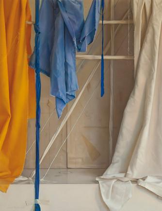 Construccion Amarillo Azul Blanco 2016 Pastel on Paper 90 cm. x 69 cm. 201