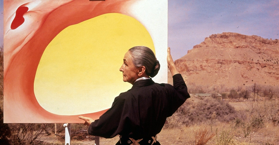 georgia-okeeffe-with-painting-in-desert-