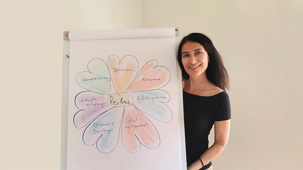 Hanne Rohrauer mit einem Flipchart zum Thema Resilienz