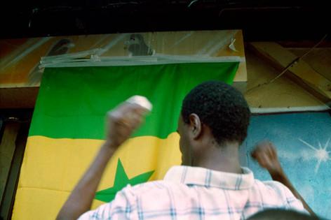 Senegal beats Sweden. 16 June 2002. Cafe L'Omadis, rue Doudeauville (Senegalese quarter), Paris 18th