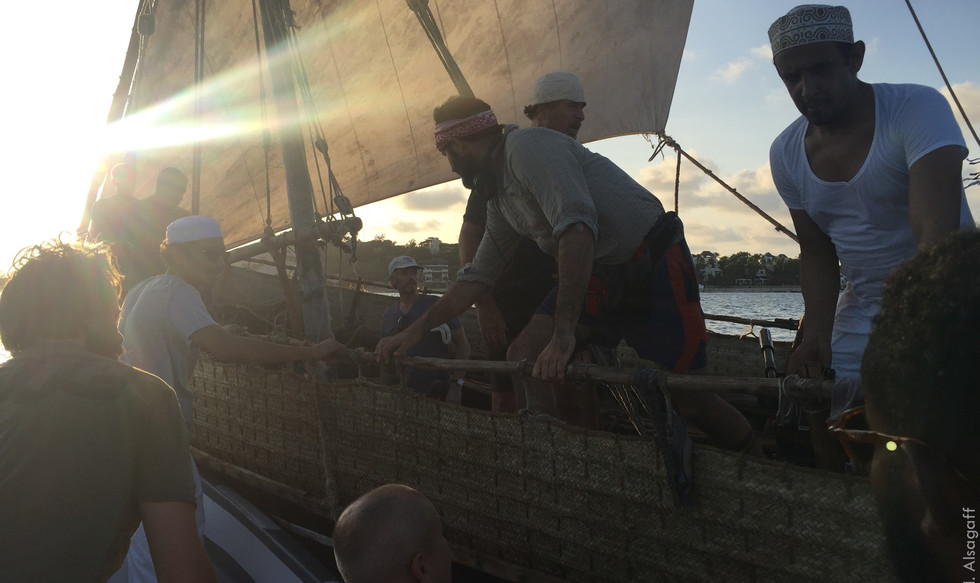Filming on Dhows