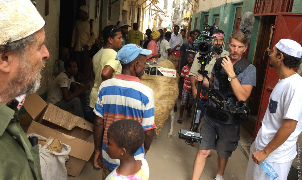 Filming in the tight alleys of the souqs and bazaars