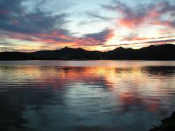 Sunset vista across Otago harbour
