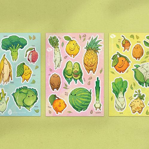 A5 Stickersheet Veggies: Bundle of 3