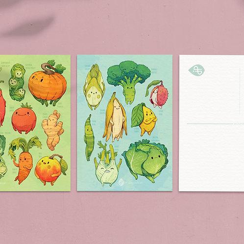 A5 Art postcard Veggies: Bundle of 3