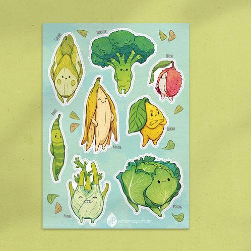 A5 Stickersheet Veggies