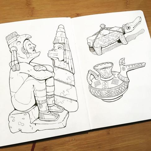 Aztec Sketchbook Lineart