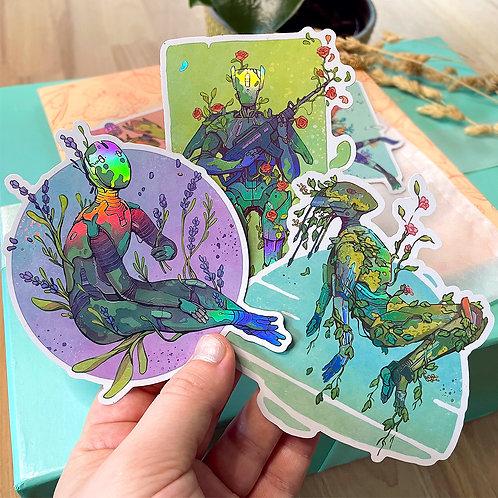 3 Botanical Bot Holo Stickers