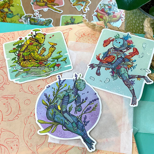 3 Botanical Bot Stickers