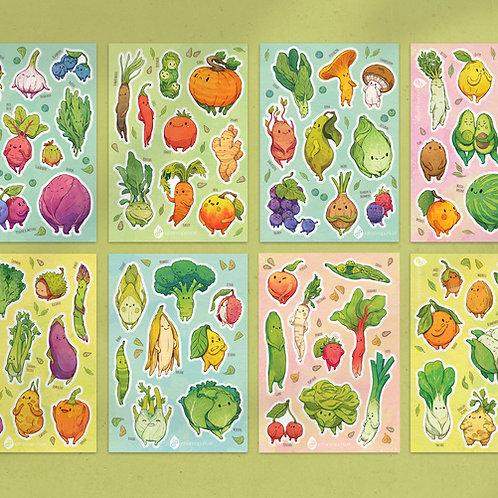 A5 Stickersheet Veggies: Complete Bundle