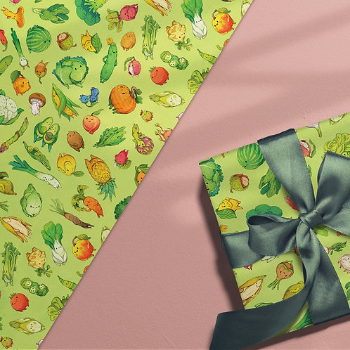 3x Veggie Gift wrapping paper
