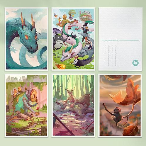 A6 Fantasy illustration postcard: Bundle of 6