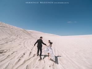 Lancelin Sand Dunes, Perth Pre-wedding - Celebrating Mandy & Marcus
