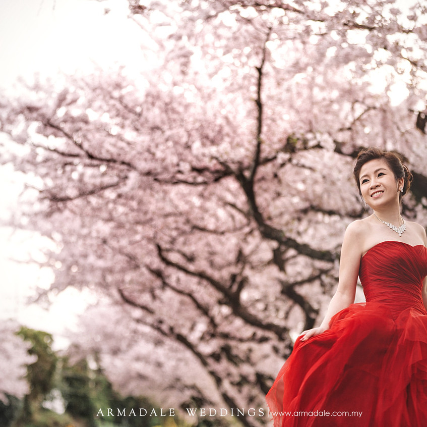 Red ruffled evening gown