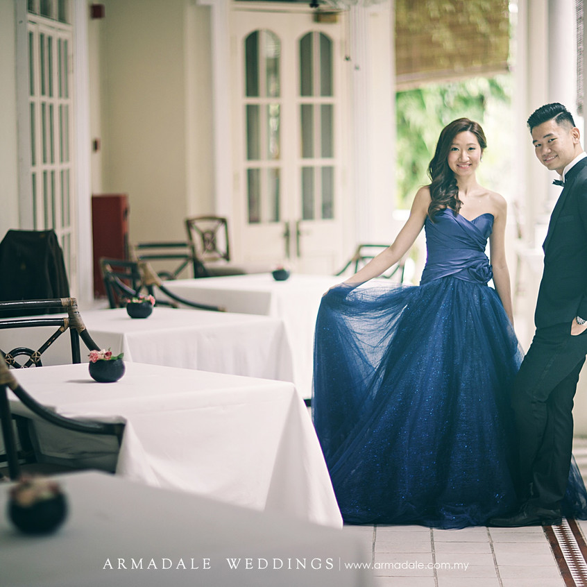 Blue ball gown with satin top