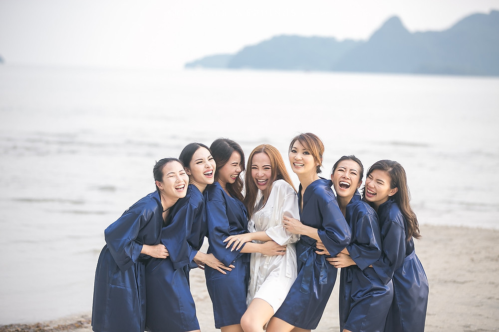 beach wedding bridesmaids
