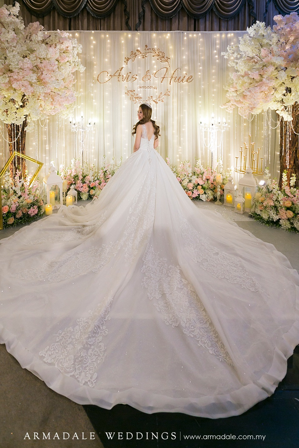 ball gown with long train