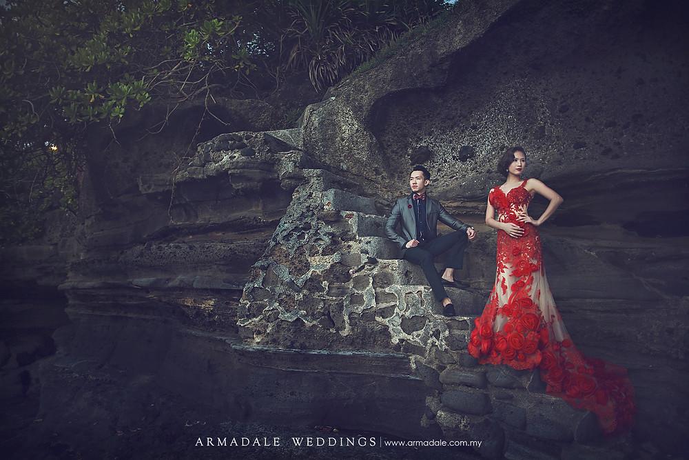 bali prewedding red gown